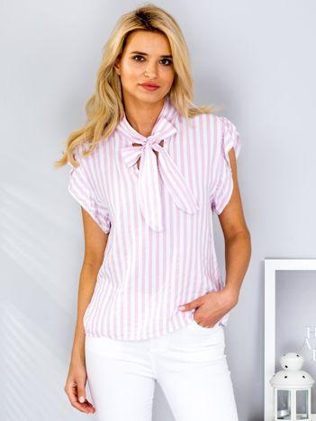 Jasnoróżowa bluzka w paski z wiązaniem