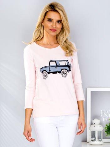 Jasnoróżowa bluzka z samochodem