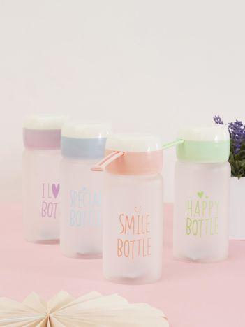 Jasnoróżowa ekologiczna butelka bidon z napisem