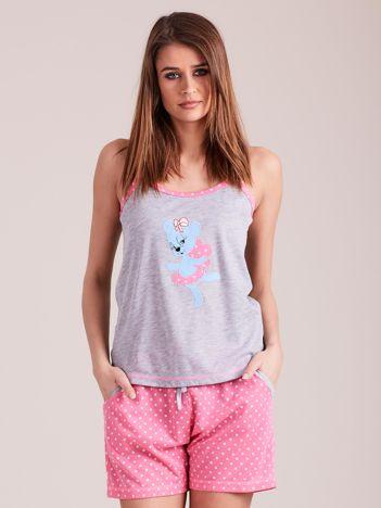 Jasnoróżowa piżama do spania z nadrukiem
