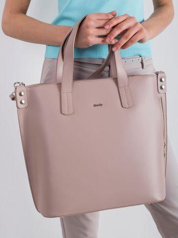 Jasnoróżowa skórzana torba damska