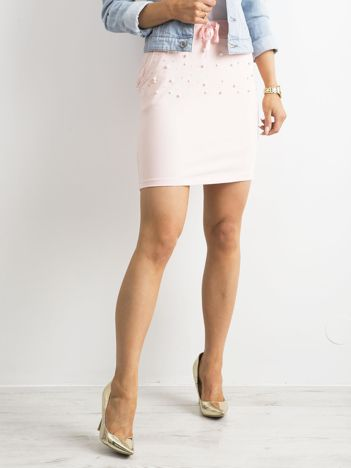 Jasnoróżowa spódnica mini z aplikacją