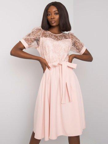 Jasnoróżowa sukienka elegancka Maricela
