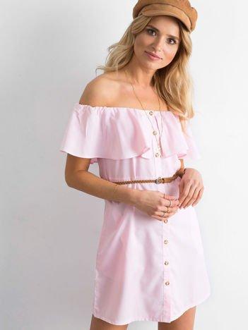 Jasnoróżowa sukienka hiszpanka