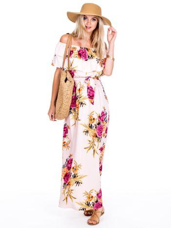 Jasnoróżowa sukienka sukienka hiszpanka maxi w kwiaty