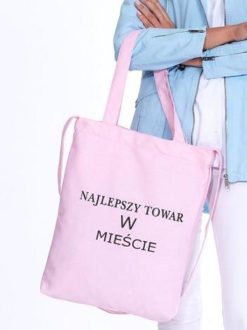 Jasnoróżowa torba bawełniana NAJLEPSZY TOWAR W MIEŚCIE