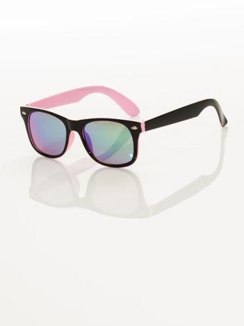 Jasnoróżowe Dziecięce lustrzanki z filtrami UV okulary z klasyczną oprawką WEYFARER NERD odporne na wyginania