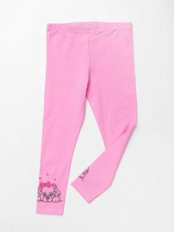 Jasnoróżowe bawełniane legginsy dla dziewczynki