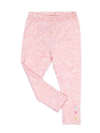 Jasnoróżowe legginsy dla dziewczynki z kolorowymi guzikami