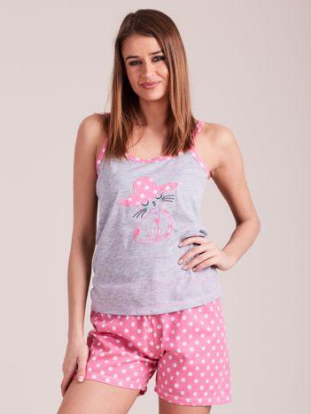 Jasnoróżowo-szara piżama damska w grochy