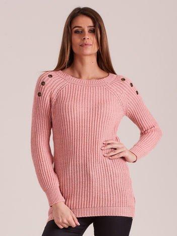 Jasnoróżowy damski dzianinowy sweter