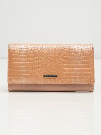 Jasnoróżowy damski portfel skórzany