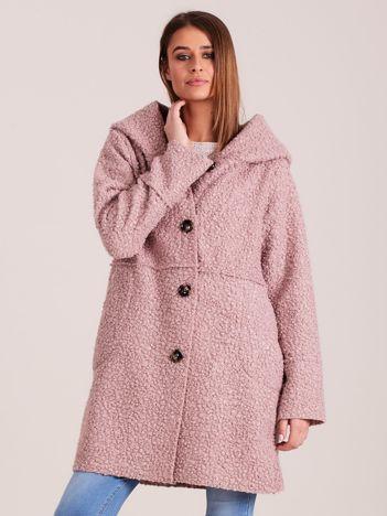 Jasnoróżowy płaszcz boucle z kapturem