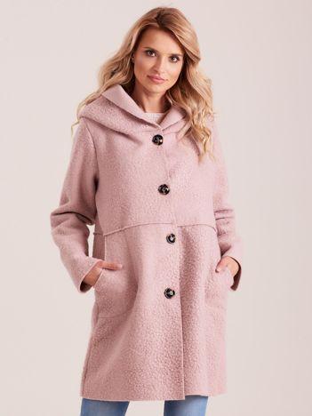 Jasnoróżowy płaszcz damski z kapturem