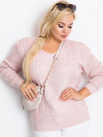 Jasnoróżowy sweter plus size Tango