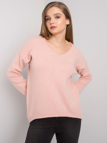 Jasnoróżowy sweter z dekoltem V Georgia