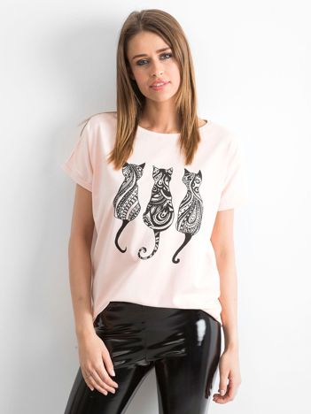 Jasnoróżowy t-shirt Kittens
