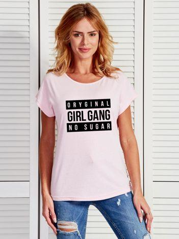 Jasnoróżowy t-shirt damski ORIGINAL GIRL GANG