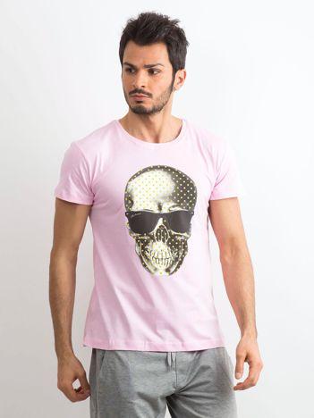 Jasnoróżowy t-shirt męski z nadrukiem