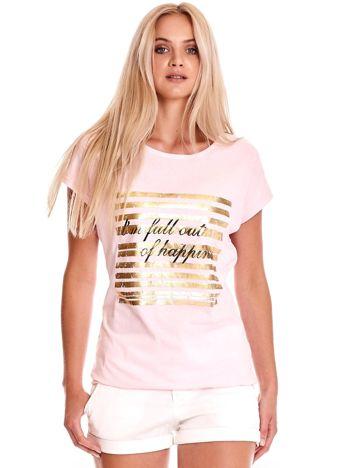 Jasnoróżowy t-shirt ze złotym printem