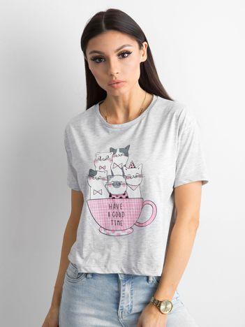 Jasnoszara bawełniana koszulka z nadrukiem