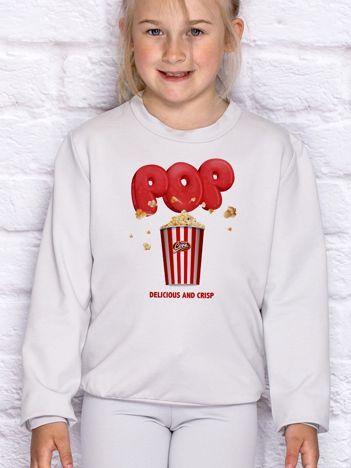 Jasnoszara bluza dziecięca z nadrukiem popcornu