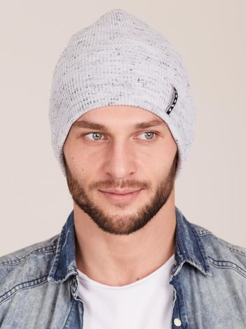 Jasnoszara męska czapka beanie