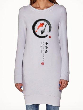 Jasnoszara tunika z japońskim nadrukiem
