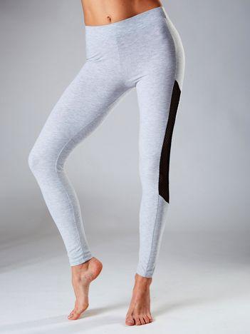 Jasnoszare legginsy z siatkowymi modułami