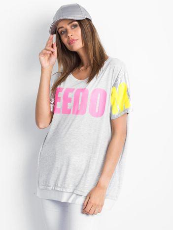 Jasnoszary t-shirt Freedom