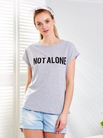 Jasnoszary t-shirt NOT ALONE