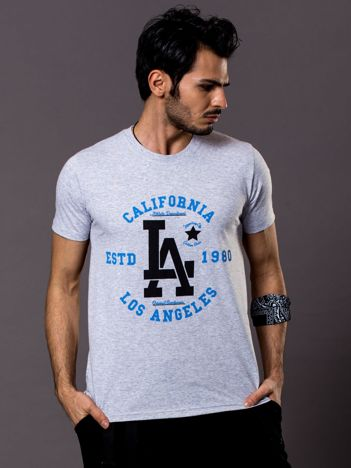 Jasnoszary t-shirt męski LA