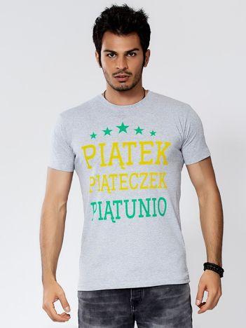 Jasnoszary t-shirt męski PIĄTEK PIĄTECZEK