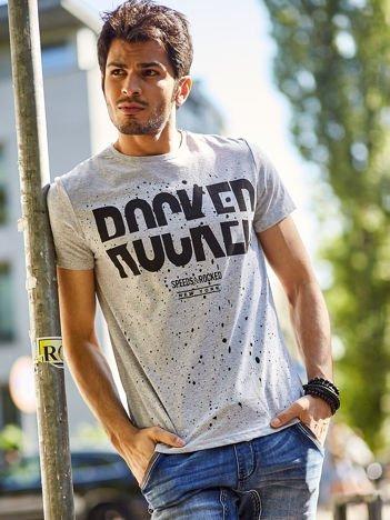 Jasnoszary t-shirt męski Rocked