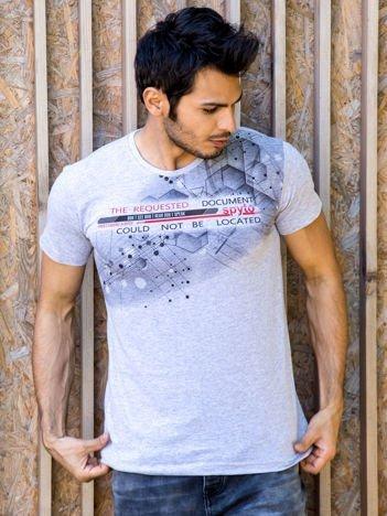 Jasnoszary t-shirt męski urban print