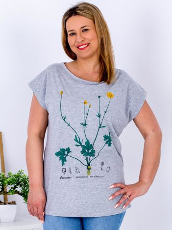 Jasnoszary t-shirt z jaskrami PLUS SIZE