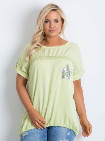 Jasnozielona bluzka plus size z cekinami