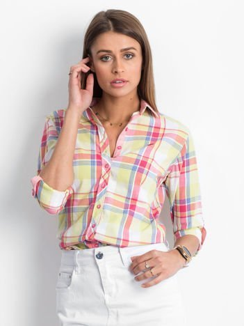 Jasnozielona koszula w kolorową kratę