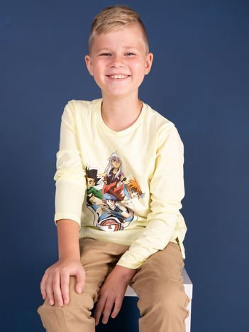 Jasnożółta bawełniana bluzka dziecięca z nadrukiem