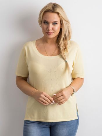 Jasnożółta bluzka z aplikacją PLUS SIZE
