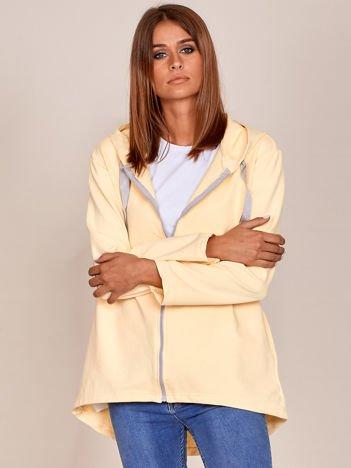 Jasnożółta długa bluza na zamek z kapturem