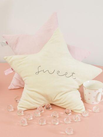 Jasnożółta poduszka dekoracyjna GWIAZDA