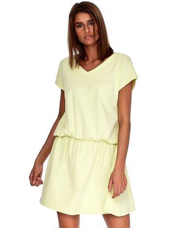 Jasnożółta sukienka V-neck z gumką w pasie