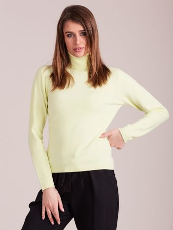 Jasnożółty sweter golf damski