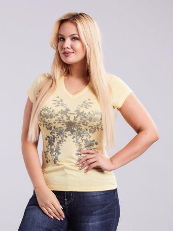 Jasnożółty t-shirt w kwiaty PLUS SIZE