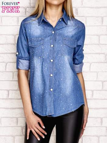 Jeansowa koszula z dżetami niebieska
