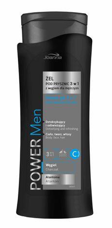 Joanna POWER MEN Żel pod prysznic/szampon 3w1 dla mężczyzn z węglem 400ml