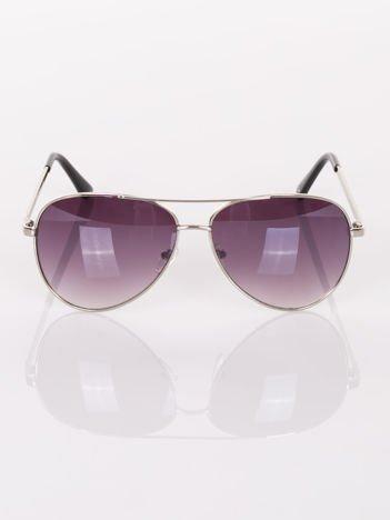 KLASYKA srebrne pilotki AVIATORY- okulary przeciwsłoneczne z cyrkoniami na zausznikach