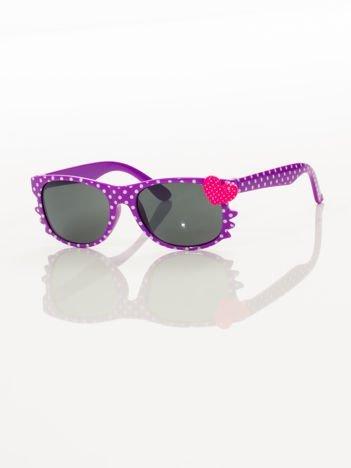 KOTEK Z SERCEM Dziecięce fioletowe okulary typu WAYFARER z filtrami