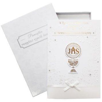 KUKARTKA Karnet komunijny Cartissimo Bogato zdobiony, duży, opakowany w ozdobne pudełko prezentowe Idealny na przekazanie życzeń i... banknotów